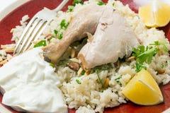 Pilaf del pollo con il primo piano della forcella Immagine Stock