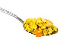 Pilaf del riso del cucchiaio con carne Immagine Stock