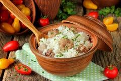 Pilaf delle polpette del riso basmati Immagine Stock