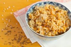 Pilaf feito do arroz e da galinha imagens de stock