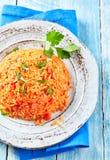 Pilaf griego regional tradicional del arroz del tomate foto de archivo
