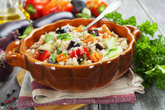 Pilaf made ​​of wheat grains and vegetables Stock Photography