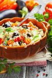 Pilaf made of wheat grains and vegetables stock photo