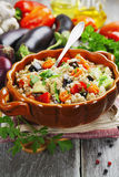 Pilaf made of wheat grains and vegetables royalty free stock photography