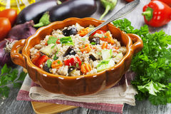 Pilaf made of wheat grains and vegetables royalty free stock photo