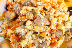 Pilaf with meat, close-up Stock Photos
