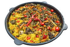 Pilaf with meat, spices, garlic and red pepper stock photo