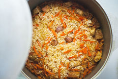 Pilaf with meat and vegetables above Stock Photography