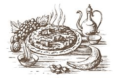Pilaf Oriental cuisine. Eastern dish of rice and meat, plov. Hot pilaf  on a large plate. Tea with sugar, fruit grapes, melon, walnut. Engraving style sketch stock illustration