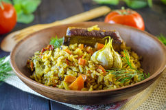Pilaf on a platter with meat and spices Royalty Free Stock Image