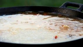 Pilaf (Plov) - Afghan, Ouzbékistan, préparation nationale tadjik de plat principal de cuisine - arrosez l'addition banque de vidéos