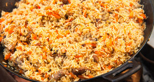 Pilaf (Plov) - Afghan, Ouzbékistan, plat principal de cuisine nationale tadjik Photographie stock