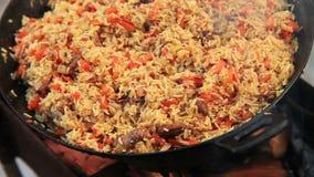 Pilaf (Plov) - Afghan, Uzbek, Tajik national cuisine main dish stock video