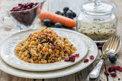 Pilaf with raisins, carrots and cranberries. Royalty Free Stock Photos