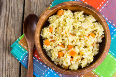 Pilaf, rice, meat, carrots, garlic Royalty Free Stock Photo