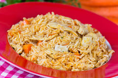Pilaf,a rice meat with chicken and carrots Stock Photography