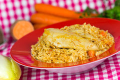Pilaf,a rice meat with chicken and carrots Stock Images