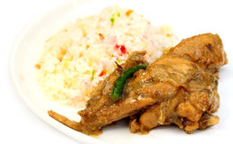 Pilaf with roasted chicken Royalty Free Stock Photo
