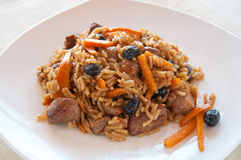 Pilaf with turkey, carrots, spices Royalty Free Stock Images