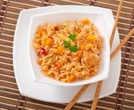 Pilaf. Uzbek national dish pilaf in a bowl royalty free stock images
