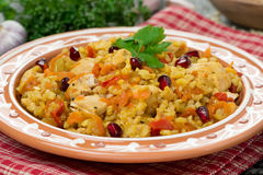 Pilaf with vegetables, chicken and pomegranate, close-up Stock Images