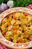Pilaf with vegetables, chicken and pomegranate, closeup royalty free stock images