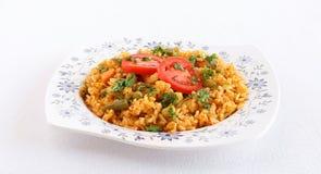 Pilaf vegetariano indio del arroz del tomate de la comida Imágenes de archivo libres de regalías