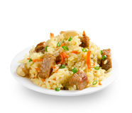 Pilaf on white background Royalty Free Stock Photos