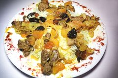 Pilaf z mięsem i pikantność Fotografia Stock