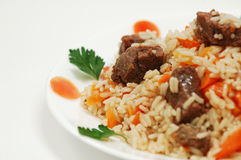 Pilaff. With rice and meat Stock Photo