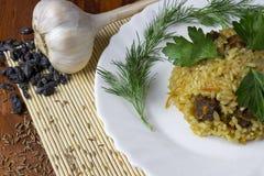 Pilaff med nötkött, barberryen, zira, persilja och dill Royaltyfri Foto