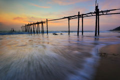 Pilai bridge , Old wooden bridge Phuket at sunset . Stock Image