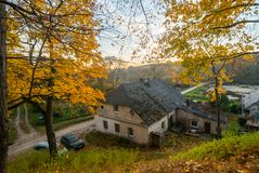 Pilaite, Vilnius, old houses in fall. Autumn nature stock photos