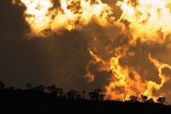 Pilanesberg landscape. Stormy Pilanesberg landscape with omenous clouds on the horizon Royalty Free Stock Photo