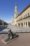 Pilar. Zaragoza, Spain - November 16, 2010: bronze  sculpture dedicated to the painter Francisco de  Goya in the Pilar Square, behind the Town Hall and at the Stock Photos