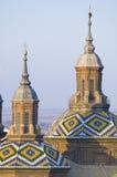Pilar. View of the  towers of basilica of the Virgen del Pilar, Zaragoza, Aragon, Spain Stock Photo