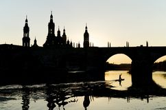 Pilar. View of the  basilica of the Virgen del Pilar and Ebro river, right is located the medieval bridge known as the Stone Bridge, Zaragoza, Aragon, Spain Stock Photos