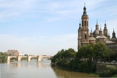 The Pilar Basilica. On the bank of Ebro river, 17th century baroque. Zaragoza, Spain Stock Image