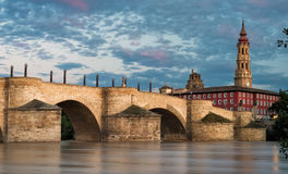 Pilar Cathedral and bridge in Zaragoza city Spain Royalty Free Stock Photos