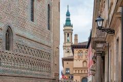 Pilar Cathedral i den Zaragoza staden Spanien Royaltyfria Bilder
