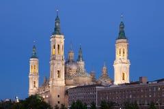 Pilar Cathedral i Zaragoza, Spanien Royaltyfri Fotografi