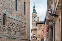 Pilar Cathedral in Zaragoza city Spain Royalty Free Stock Images