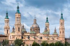 Pilar Cathedralin Zaragoza stad Spanien Arkivbild