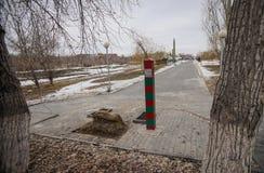 Pilar de frontera Fotos de archivo libres de regalías