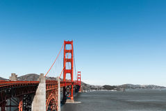 Pilar del rojo de San Francisco Golden Gate Bridge Foto de archivo