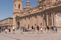 pilar del vallfärdar plazaen zaragoza Arkivbild