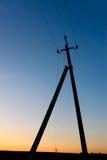 Pilar eléctrico después de la puesta del sol Fotos de archivo