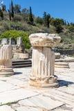 Pilar en el sitio Eleusis, Grecia, Europa de la excavación fotografía de archivo libre de regalías