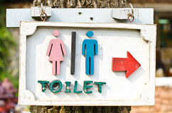 Pilar indikerar toaletten. Royaltyfri Bild