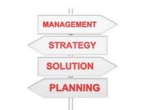 Pilar med begreppsmässigt avbildar av strategi. Arkivfoto